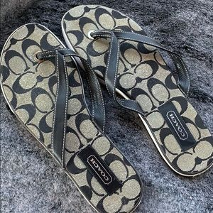 Coach leather and fabric  flip flops